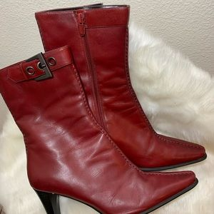 Franco Sarto Red Leather Buckle Boot